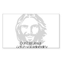 Don't let jesus Rectangle Sticker 50 pk)