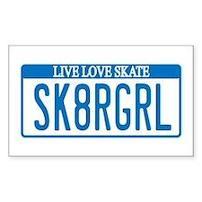 Skater Girl License Rectangle Decal