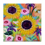 Sunflowers with a Bee Tile Coaster