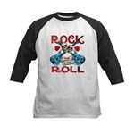 Rock N Roll logo Blue guitar Kids Baseball Jersey