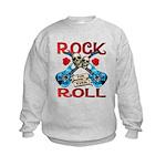 Rock N Roll logo Blue guitar Kids Sweatshirt
