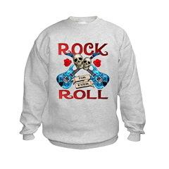 Rock N Roll logo Blue guitar Sweatshirt