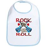 Rock N Roll logo Blue guitar Bib