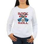 Rock N Roll logo Blue guitar Women's Long Sleeve T
