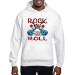 Rock N Roll logo Blue guitar Hooded Sweatshirt