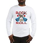 Rock N Roll logo Blue guitar Long Sleeve T-Shirt