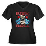 Rock N Roll logo Blue guitar Women's Plus Size V-N