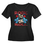 Rock N Roll logo Blue guitar Women's Plus Size Sco