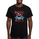 Rock N Roll logo Blue guitar Men's Fitted T-Shirt