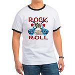 Rock N Roll logo Blue guitar Ringer T