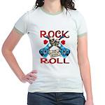 Rock N Roll logo Blue guitar Jr. Ringer T-Shirt