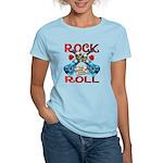 Rock N Roll logo Blue guitar Women's Light T-Shirt