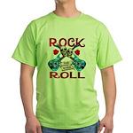 Rock N Roll logo Blue guitar Green T-Shirt