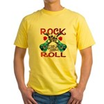 Rock N Roll logo Blue guitar Yellow T-Shirt