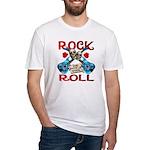 Rock N Roll logo Blue guitar Fitted T-Shirt