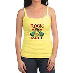 Rock N Roll logo Blue guitar Jr. Spaghetti Tank