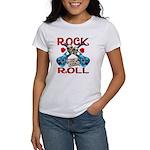 Rock N Roll logo Blue guitar Women's T-Shirt