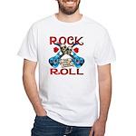 Rock N Roll logo Blue guitar White T-Shirt