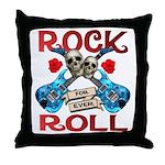 Rock N Roll logo Blue guitar Throw Pillow
