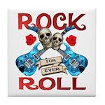 Rock N Roll logo Blue guitar Tile Coaster