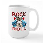 Rock N Roll logo Blue guitar Large Mug