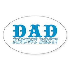 Dad Knows Best Oval Sticker (10 pk)