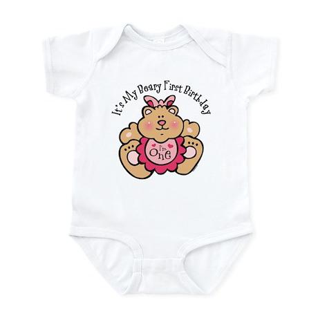Beary 1st Birthday Girl Infant Bodysuit