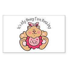 Beary 1st Birthday Girl Rectangle Decal