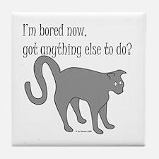 Bored Cat Tile Coaster