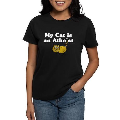 My Cat Is An Atheist Women's Dark T-Shirt
