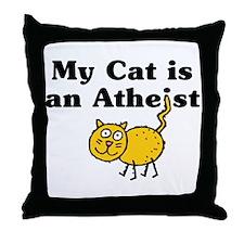 My Cat Is An Atheist Throw Pillow