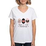 Peace Love Psychology Psychologist Women's V-Neck