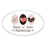 Peace Love Psychology Psychologist Oval Sticker