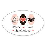 Peace Love Psychology Oval Sticker (10 pk)