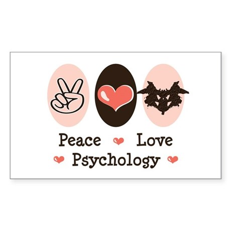 Peace Love Psychology Rectangle Sticker