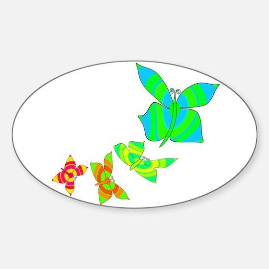 Butterfly Rainbow Oval Decal