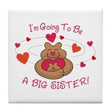 Bear Hug Future Big Sister Tile Coaster