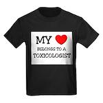 My Heart Belongs To A TOXICOLOGIST Kids Dark T-Shi