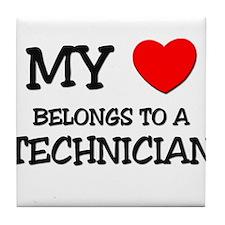 My Heart Belongs To A TECHNICIAN Tile Coaster