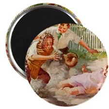 "Vintage Children Play Baseball 2.25"" Magnet (10 pa"
