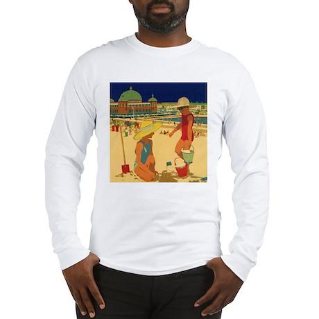 Vintage Children on Beach Long Sleeve T-Shirt