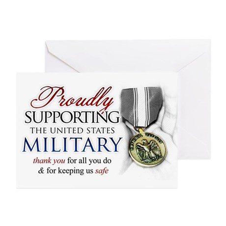 Proudly Supporting (Military) Greeting Cards (Pk o