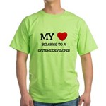 My Heart Belongs To A SYSTEMS DEVELOPER Green T-Sh
