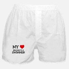 My Heart Belongs To A SWIMMER Boxer Shorts
