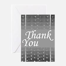 Grey Grid Thank You Greeting Card