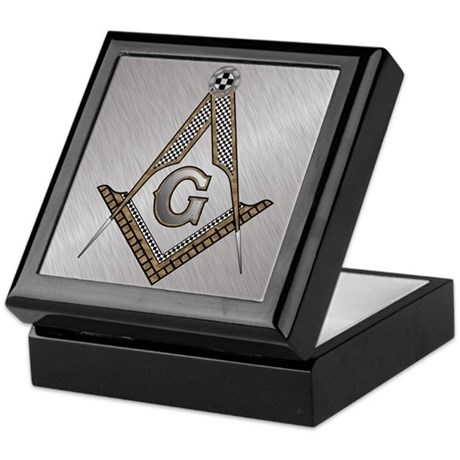Masonic Steel and wood Keepsake Box