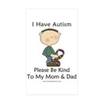 Autism Boy- Be Kind Rectangle Sticker 10 pk)