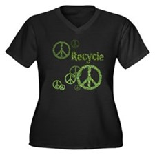 Recycle Peace Sign Women's Plus Size V-Neck Dark T