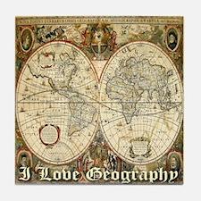 I Love Geography Tile Coaster