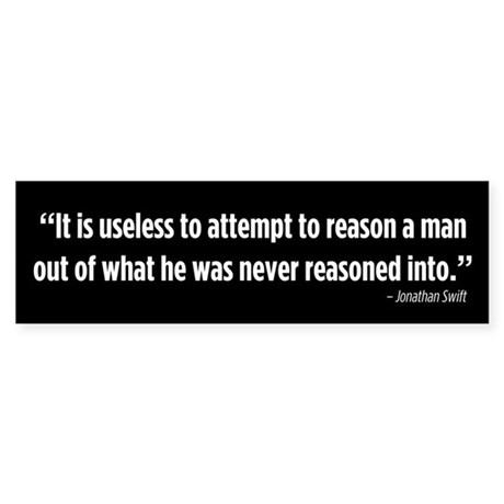Useless To Reason bumper sticker